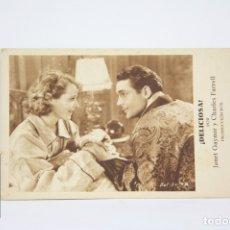 Cine: PROGRAMA DE CINE / TARJETA FOTOGRAMA - ¡ DELICIOSA ! / JANET GAYNOR - CON PUBLICIDAD - FOX, AÑO 1932. Lote 109012746