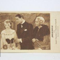 Cine: PROGRAMA DE CINE / TARJETA FOTOGRAMA - ¡ DELICIOSA ! / JANET GAYNOR - CON PUBLICIDAD - FOX, AÑO 1932. Lote 109012782