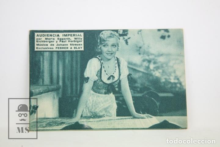 PROGRAMA DE CINE / TARJETA FOTOGRAMA - AUDIENCIA IMPERIAL - CON PUBLICIDAD - FERRER & BLAY, AÑO 1934 (Cine - Folletos de Mano - Drama)
