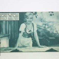 Cine: PROGRAMA DE CINE / TARJETA FOTOGRAMA - AUDIENCIA IMPERIAL - CON PUBLICIDAD - FERRER & BLAY, AÑO 1934. Lote 109012892
