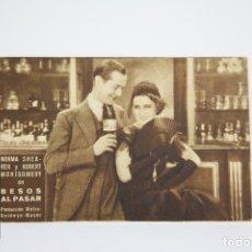 Cine: PROGRAMA DE CINE / TARJETA FOTOGRAMA - BESOS AL PASAR - CON PUBLICIDAD - METRO GLODWYN, AÑO 1933. Lote 109012947