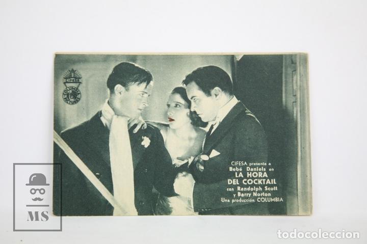 PROGRAMA DE CINE / TARJETA FOTOGRAMA - LA HORA DEL COCKTAIL - CON PUBLICIDAD - COLUMBIA, AÑO 1934 (Cine - Folletos de Mano - Drama)
