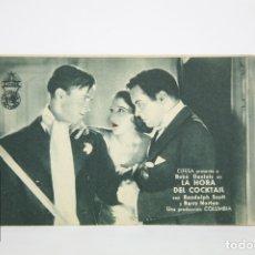 Cine: PROGRAMA DE CINE / TARJETA FOTOGRAMA - LA HORA DEL COCKTAIL - CON PUBLICIDAD - COLUMBIA, AÑO 1934. Lote 109012994