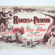 Cine: PROGRAMA DE CINE SIMPLE - RAÍCES DE PASIÓN - PUBLICIDAD - UNIVERSAL FILMS, AÑO 1949. Lote 109013199