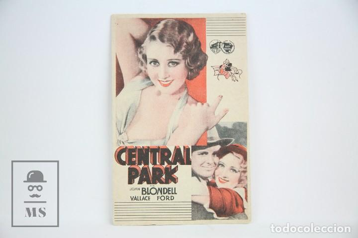 PROGRAMA DE CINE SIMPLE - CENTRAL PARK / JOAN BLONDELL - CON PUBLICIDAD - WARNER BROS - AÑO 1933 (Cine - Folletos de Mano - Drama)