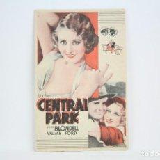Cine: PROGRAMA DE CINE SIMPLE - CENTRAL PARK / JOAN BLONDELL - CON PUBLICIDAD - WARNER BROS - AÑO 1933. Lote 109014219