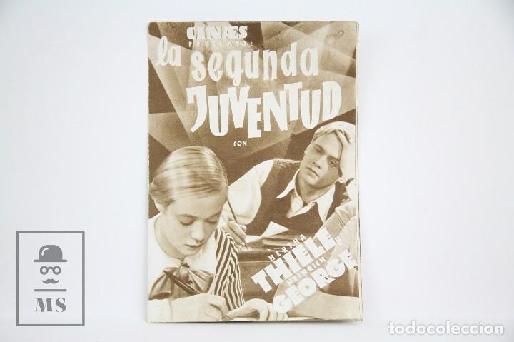 PROGRAMA DE CINE DOBLE - LA SEGUNDA JUVENTUD / HERTHA THIELE - CON PUBLICIDAD - CINAES - AÑO 1934 (Cine - Folletos de Mano - Drama)