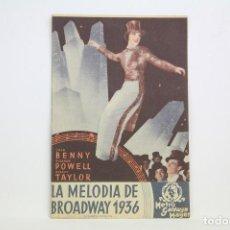 Cine: PROGRAMA DE CINE DOBLE - LA MELODÍA DE BROADWAY 1936 - CON PUBLICIDAD - METRO GOLDWYN - AÑO 1936. Lote 109015839