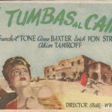 Foglietti di film di film antichi di cinema: PROGRAMA DE CINE - 5 TUMBAS AL CAIRO - ANNE BAXTER, DIRECTOR: BILLY WILDER - DORSO EN BLANCO. Lote 109030227