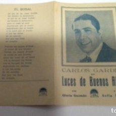 Cine: LUCES DE BUENOS AIRES, CARLOS GARDEL PROGRAMA DOBLE, CANCIONERO, SIN PUBLICIDAD AÑOS 30. Lote 109037435