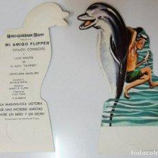 Flyers Publicitaires de films Anciens: MI AMIGO FLIPPER - FOLLETO MANO ORIGINAL TROQUELADO - IMPRESO DETRAS NUEVO - DELFIN DOLPHIN. Lote 109093755