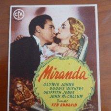 Cine: MIRANDA GLYNIS JOHNS FOLLETO DE MANO ORIGINAL PERFECTO ESTADO. Lote 109274967