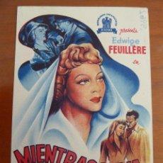 Cine: MIENTRAS VIVA EDWIGE FEUILLERE FOLLETO DE MANO ORIGINAL PERFECTO ESTADO. Lote 109275111