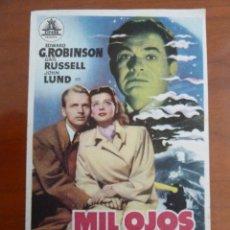 Cine: MIL OJOS TIENE LA NOCHE FOLLETO DE MANO ORIGINAL PERFECTO ESTADO. Lote 109275199