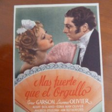 Cine: MAS FUERTE QUE EL ORGULLO LAURENCE OLIVIER GREER GARSON FOLLETO DE MANO ORIGINAL PERFECTO ESTADO. Lote 109275215