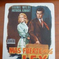 Cine: MAS FUERTE QUE LA LEY CORNEL WILDE FOLLETO DE MANO ORIGINAL PERFECTO ESTADO. Lote 109275247