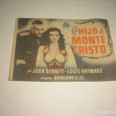 Cine: EL HIJO DE MONTECRISTO PROGRAMA DOBLE CIFESA.. Lote 109281775