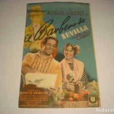Cine: EL BARBERO DE SEVILLA , MIGUEL LIGERO, CON PUBLICIDAD. Lote 109293783
