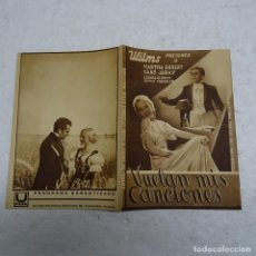 Cine: PROGRAMA DE CINE DOBLE VUELAN MIS CANCIONES CA. 1934. HANS JARAY Y MARTHA EGGERT.. Lote 109296211