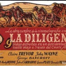 Cine: PROGRAMA DE CINE TROQUELADO .- LA DILIGENCIA- 1944- TEATRO CINE ALEGRÍA-CINE DORADO. Lote 109600643