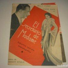 Folhetos de mão de filmes antigos de cinema: EL SECRETARIO DE MADAME ,PROGRAMA DOBLE SIN PUBLICIDAD. Lote 109844731