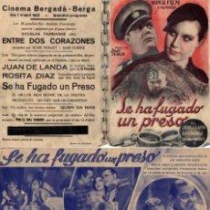 Cine: SE HA FUGADO UN PRESO - CINEMA BERGADÀ - BERGA AÑO 1935. Lote 109993155