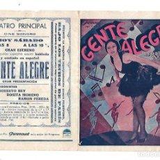 Cine: PROGRAMA DE CINE DOBLE. GENTE ALEGRE. TEATRO PRINCIPAL. ROBERTO REY Y ROSITA MORENO. Lote 110177591