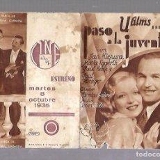 Cine: PROGRAMA DE CINE DOBLE. PASO A LA JUVENTUD. CINE GADES. 1935. JAN KIEPURA, MARTA EGGERTH. VER. Lote 110179415