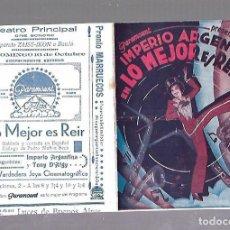 Cine: PROGRAMA DE CINE DOBLE. LO MEJOR ES REIR. TEATRO PRINCIPAL. IMPERIO ARGENTINA. VER. Lote 110181487
