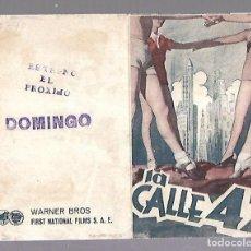 Cine: PROGRAMA DE CINE DOBLE. LA CALLE 42. S/P. BEBE DANIELS Y GEORGE BRENT. VER. Lote 110183979