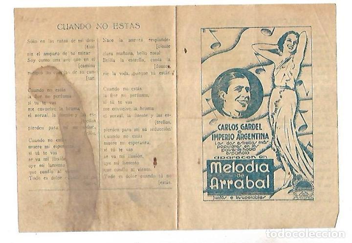 PROGRAMA DE CINE. MELODIA DE ARRABAL. S/P. CARLOS GARDEL E IMPERIO ARGENTINA. VER (Cine - Folletos de Mano - Musicales)
