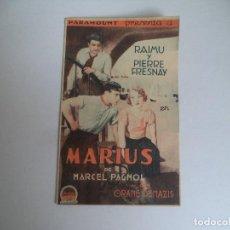 Cine: EXCELENTE FOLLETO DE MANO DOBLE MARIUS DE MARCEL PAGNOL 1931 PARAMOUNT RAIMU IY PIERRE FRESINAY. Lote 110257415