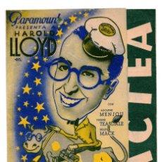 Cine: PROGRAMA DE CINE DOBLE - VÍA LÁCTEA - PARAMOUNT FILMS - CINE BARCELO, 1936 - HAROLD LLOYD. Lote 110295515