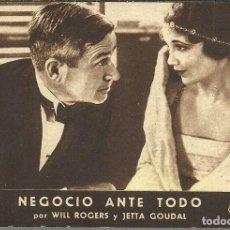 Cine: NEGOCIO ANTE TODO, PROYECTADA EN ATENEU CATALA DE SALLENT EN 1935. FOX SONORA.. Lote 110370887