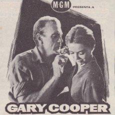 Cine: LA GRAN PRUEBA CON GARY COOPER- CINE TEATRO PRINCIPAL CINEMA LA RAMBLA AÑO 1959. Lote 110399203