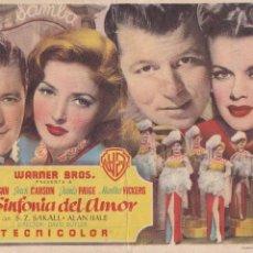 Cine: LA SINFONÍA DEL AMOR CINEMA LA RAMBLA- CINE TEATRO PRICIPAL AÑO 1949. Lote 110405067