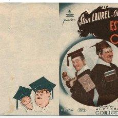 Cine: FOLLETO DE MANO DE LA PELÍCULA ESTUDIANTES DE OXFORD CON STAN LAUREL Y OLIVER HARDY. Lote 110416039