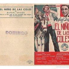 Cine: PROGRAMA DE CINE DOBLE. EL NIÑO DE LAS COLES. S/P. RAFAEL ARCOS. VER. Lote 110452015