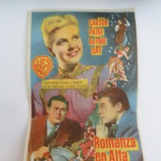 Cine: ROMANZA EN ALTA MAR - DORIS DAY JACK CARSON FOLLETO DE MANO ORIGINAL CON CINE IMPRESO. Lote 110559939