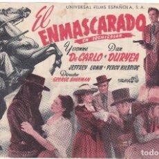 Cine: EL ENMASCARADO CON IVONNE DE CARLO-DAN DURYEA CINES ALEGRÍA- DORADO AÑO 1950. Lote 110566635
