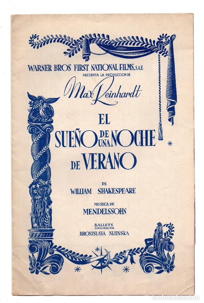 EL SUEÑO DE UNA NOCHE DE VERANO JAMES CAGNEY PROGRAMA ORIGINAL DESPLEGABLE CINE IMPRESO ESTRENO 1935 (Cine - Folletos de Mano - Acción)