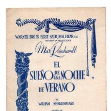 Cine: EL SUEÑO DE UNA NOCHE DE VERANO JAMES CAGNEY PROGRAMA ORIGINAL DESPLEGABLE CINE IMPRESO ESTRENO 1935. Lote 110583767
