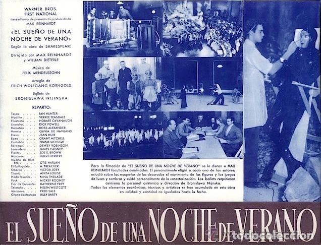 Cine: EL SUEÑO DE UNA NOCHE DE VERANO JAMES CAGNEY PROGRAMA ORIGINAL DESPLEGABLE CINE IMPRESO ESTRENO 1935 - Foto 2 - 110583767