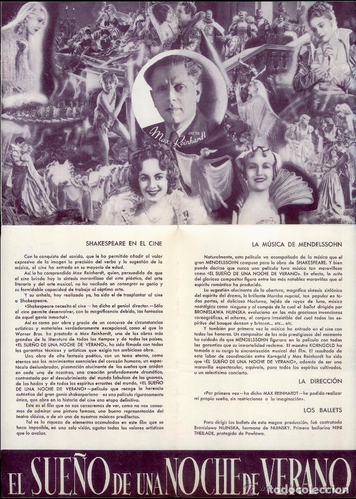 Cine: EL SUEÑO DE UNA NOCHE DE VERANO JAMES CAGNEY PROGRAMA ORIGINAL DESPLEGABLE CINE IMPRESO ESTRENO 1935 - Foto 3 - 110583767