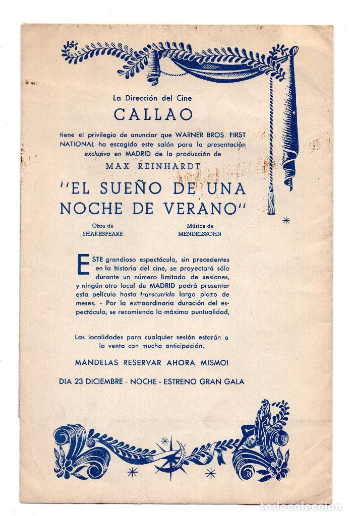 Cine: EL SUEÑO DE UNA NOCHE DE VERANO JAMES CAGNEY PROGRAMA ORIGINAL DESPLEGABLE CINE IMPRESO ESTRENO 1935 - Foto 4 - 110583767