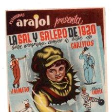 Cine: LA SAL Y EL SALERO DE 1920 , ARAJOL - CON PUBLICIDAD CINE CALATRAVAS 1944. Lote 110588283