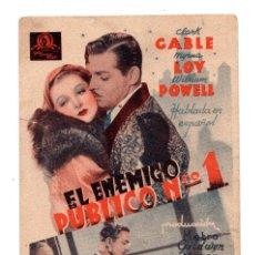 Cine: EL ENEMIGO PUBLICO Nº 1 CLARK GABLE MYRNA LOY WILLIAM POWELL - CON PUBLICIDAD SEVILLA. Lote 110589227