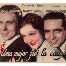 Cine: UNA MUJER FUE LA CAUSA, DOBLE ORIGINAL AÑOS 30, GEORGE MURPHY NANCY CARROLL, SIN PUBLICIDAD. Lote 110619683