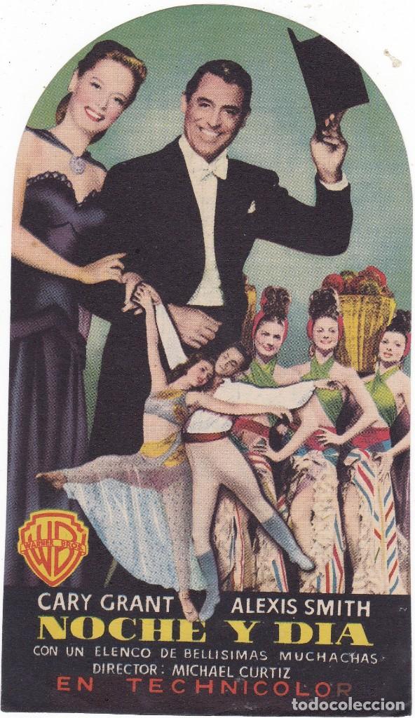NOCHE Y DÍA CON CARY GRANT Y ALEXIS SMITH AÑO 1949 TROQUELADO CINEMAS PRINCIPAL Y LA RAMBLA (Cine - Folletos de Mano - Comedia)