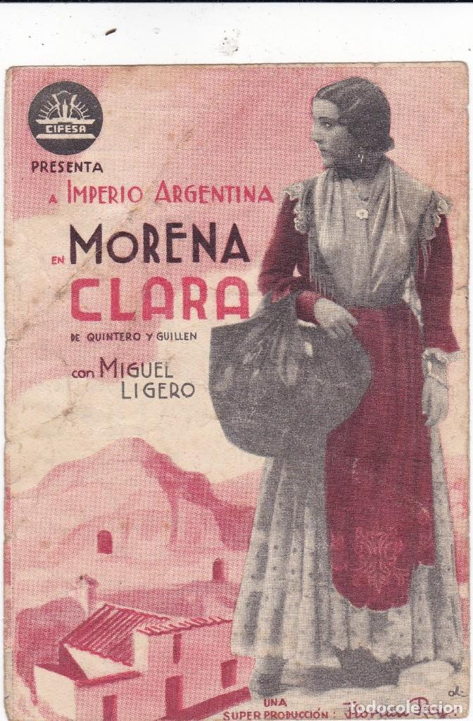MORENA CLARA CON IMPERIO ARGENTINA Y MIGUEL LIGERO AÑO 1939 CINEMA DORÉ (Cine - Folletos de Mano - Clásico Español)